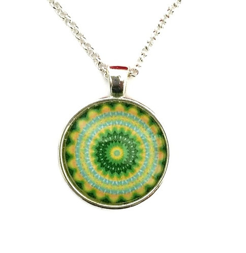 mandala with yellow and green
