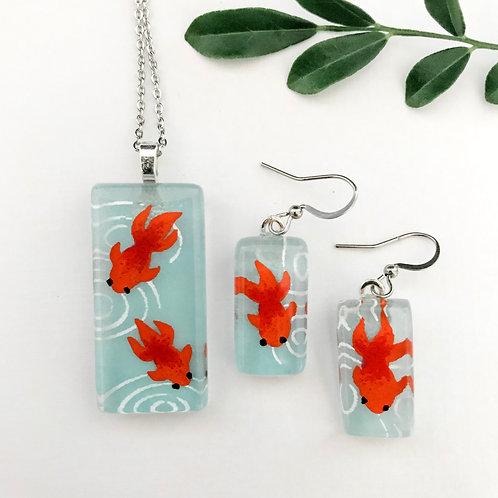 pendant and earring set ~ orange fish