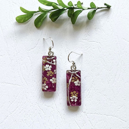 dark purple with gold and white flowers Japanese paper earrings