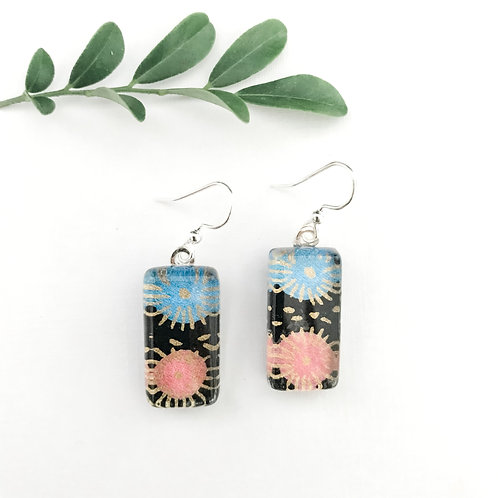 pink, blue and black Japanese paper earrings