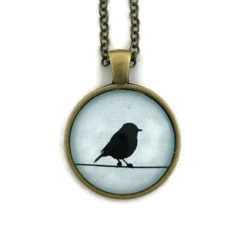little bird on the line necklace