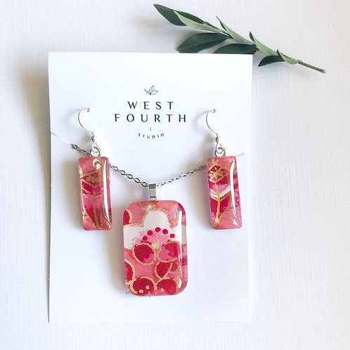 pendant and earring set ~ pinks, gold & reds