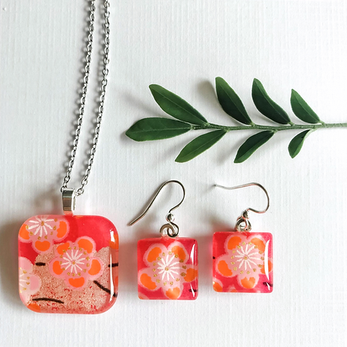 square cherry blossoms pendant and earring set