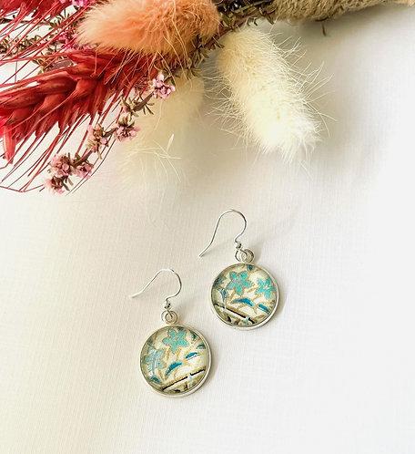 blue & green flowers Japanese paper earrings