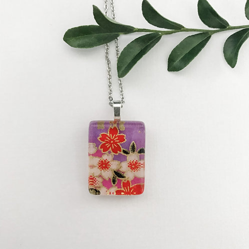 mini red and purple flower pattern necklace