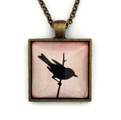 square black bird necklace