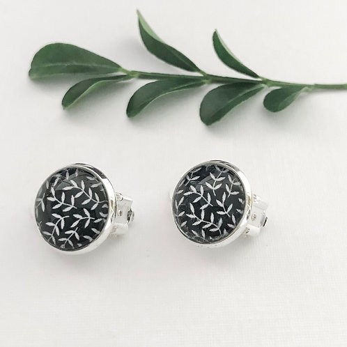 clip-on earrings ~ black and white leaves