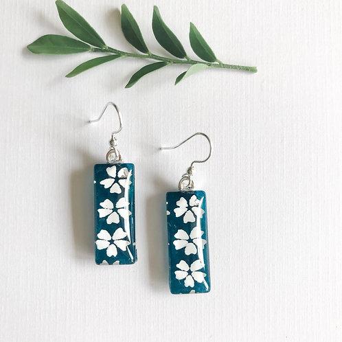 slimline glass tile earrings with blue & white pattern