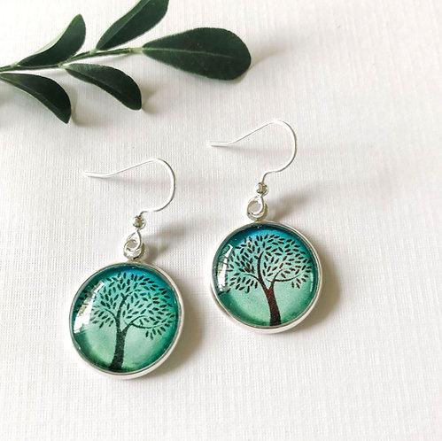 dark green tree of life earrings