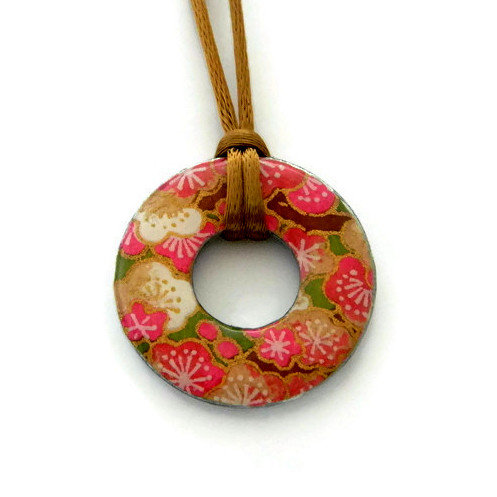 washer pendant – japanese paper 017