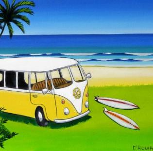 yellow kombi  - gone surfing