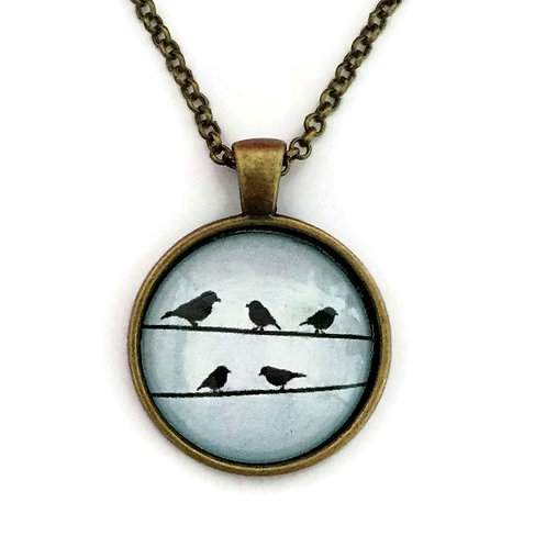 birds on the wires on blue necklace