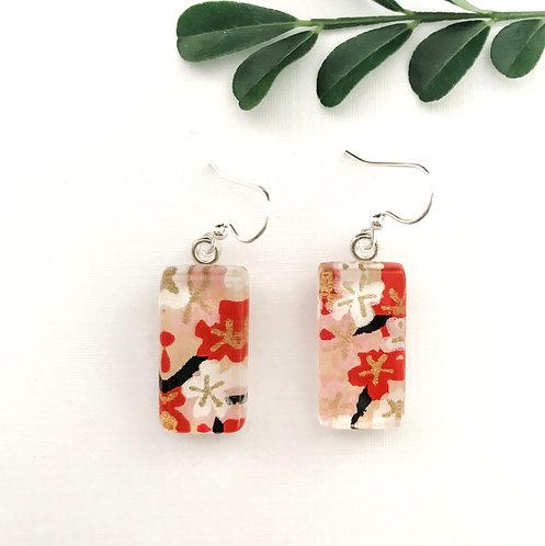 glass tile earrings ~ red, white, gold & black
