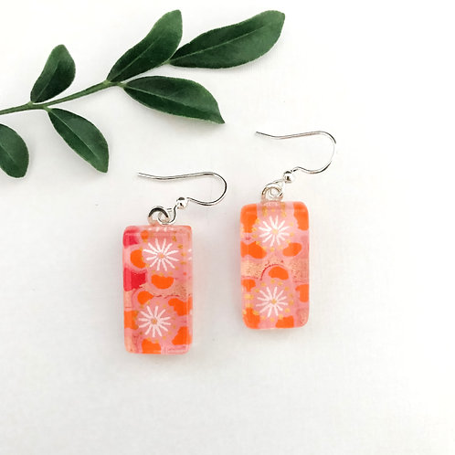 glass tile earring ~ orange cherry blossoms