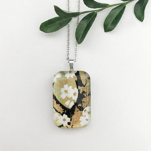 gold with white cherry blossoms necklace