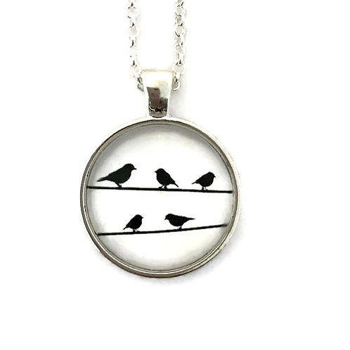 birds on the wires on white necklace