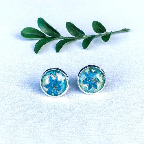 stud earrings green flowers