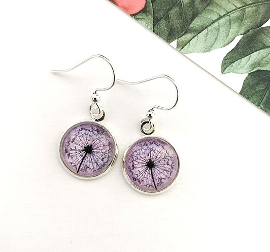 purple dandelion earrings