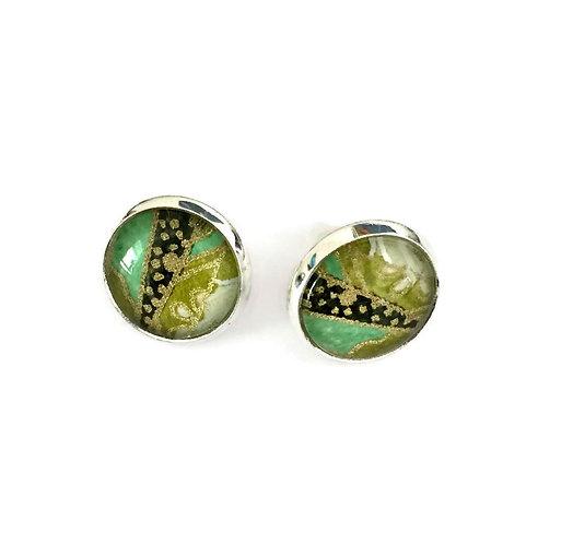stud earrings greens and blacks