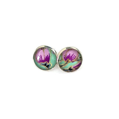 stud earrings purple flowers on green
