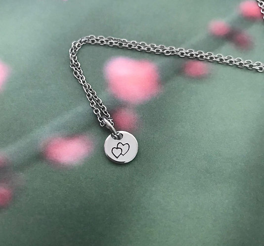 double heart on small round and chain