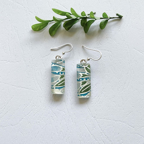 green and blue leaves Japanese paper earrings