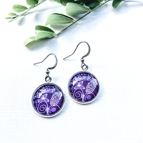 purple earrings with white pattern