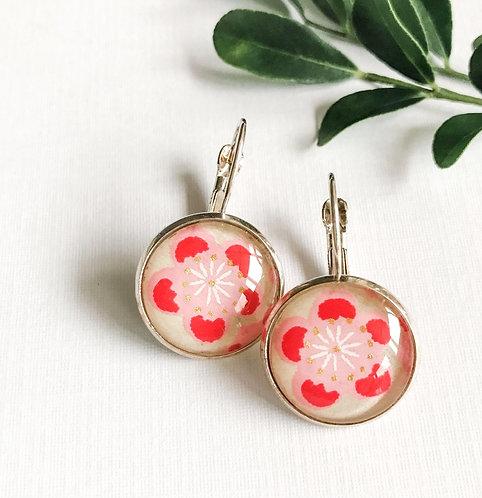 japanese paper earrings ~ red cherry blossom