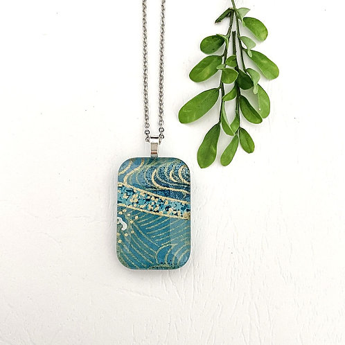 light blue with gold pattern Japanese paper necklace
