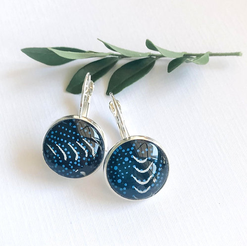 blue and white Japanese paper earrings