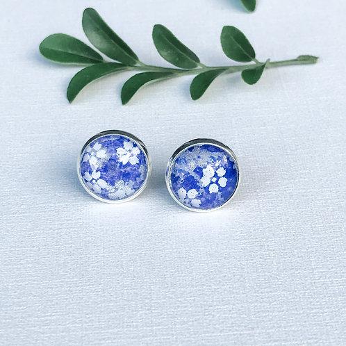 stud earrings purple with white flowers
