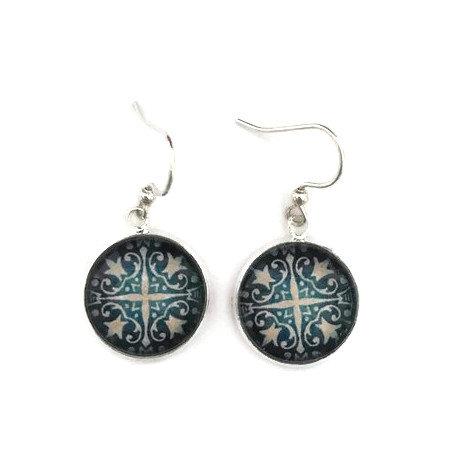 vintage blue pattern earrings