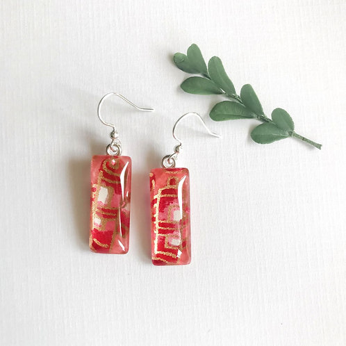 slimline glass tile earrings ~ pink & red & yellow flowers
