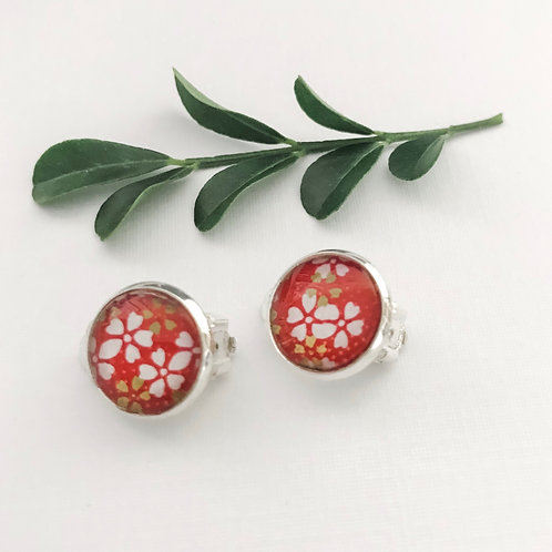 clip-on earrings ~ red with white flowers