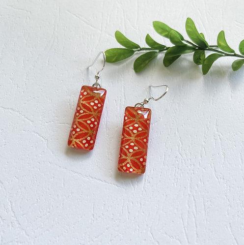 orange, gold & white pattern ~ glass earrings