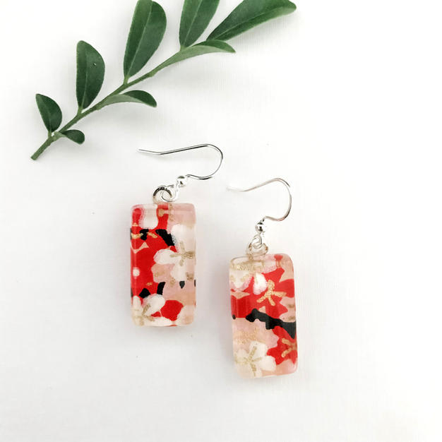 Japanese Paper Glass Earrings
