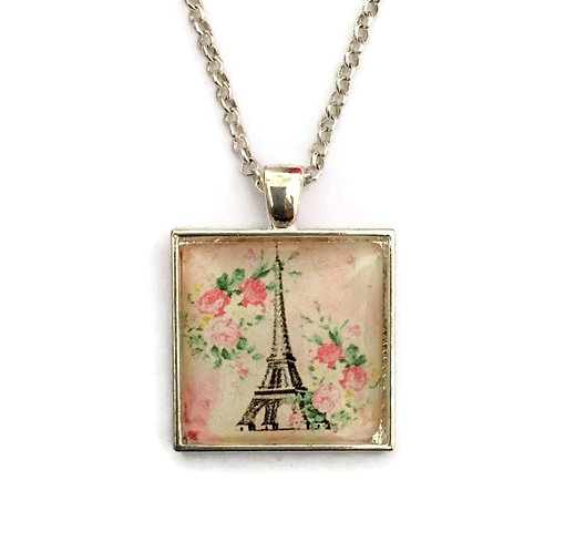 Eiffel tower on pale pinks with flowers