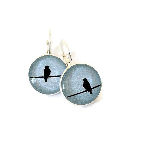 bird on wire on blue