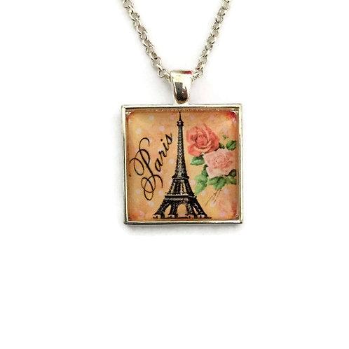 orange Paris in square necklace