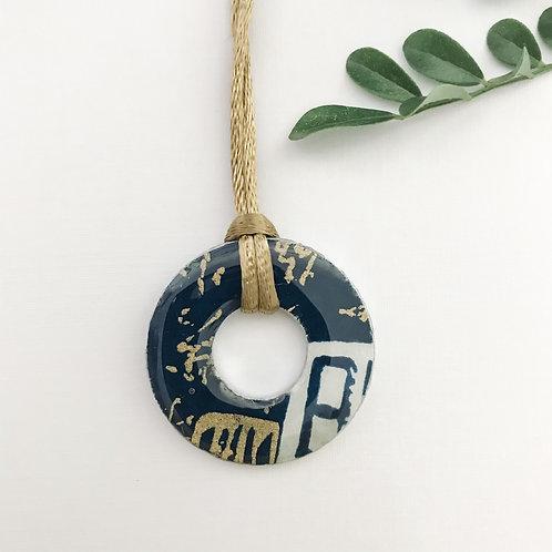washer pendant –blue & golds