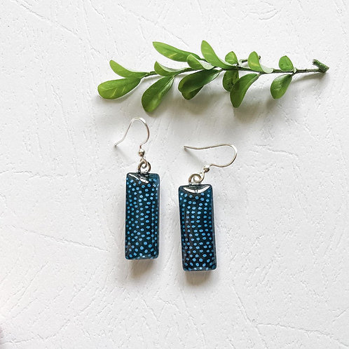 dark blue with blue dots Japanese paper ~ glass earrings