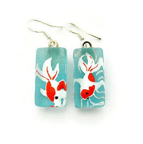 Japanese paper coy fish earrings (orange & white)