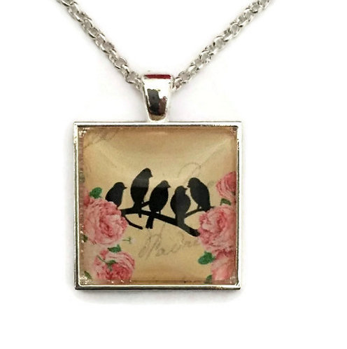 blackbirds and flowers square necklace