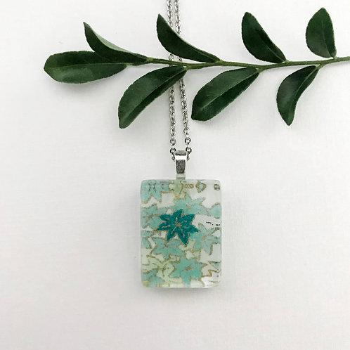 mini pendant with green Japanese paper pattern