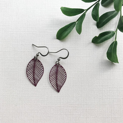 Dark Purple Leaf Earring