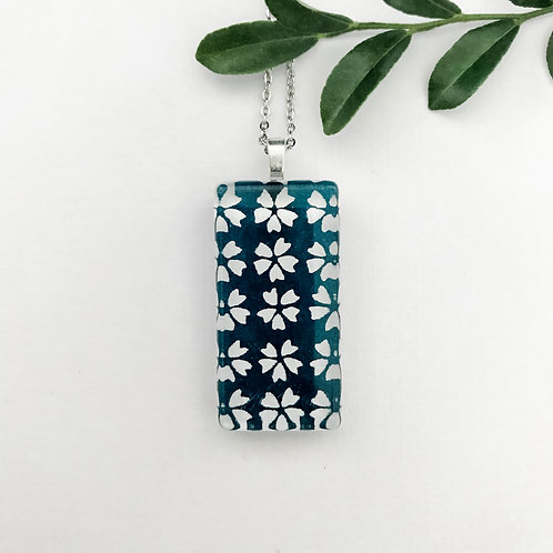 blue and white Japanese paper pendant