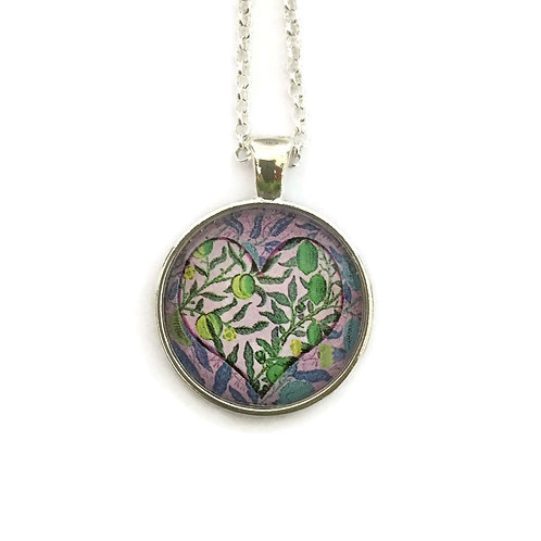 greens and purple heart necklace
