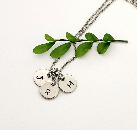 3 letters & chain ~ 10mm round charms