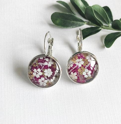 dark purple with white flowers earrings