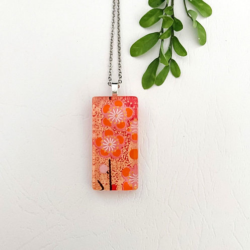 class cherry blossom Japanese paper glass tile necklace